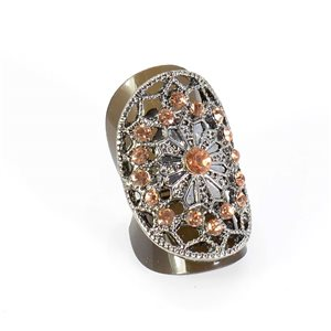 Adjustable Rhinestone Ring Full Rhinestone Vintage Collection SILVER 67861