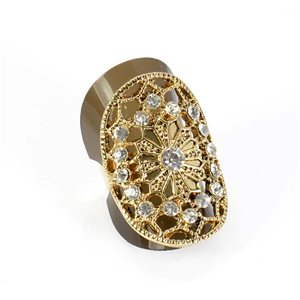 Adjustable Rhinestone Ring Full Rhinestone GOLD Vintage Collection 67864
