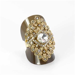 Adjustable Rhinestone Ring Full Rhinestone GOLD Vintage Collection 67954