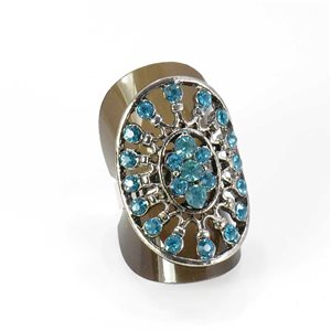 Adjustable Rhinestone Ring Full Rhinestone Vintage Collection SILVER 67986