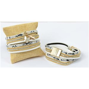 Multi Row Rhinestone Bracelet Butterfly Effect magnetic clasp cuff New Collection 69265