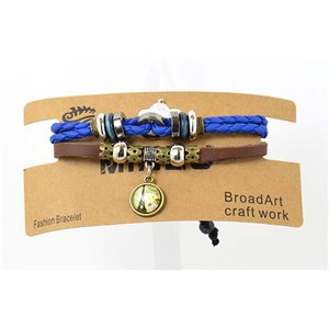 Bracelet Homme multirang en Cuir sur nœud coulissant New Collection 69472