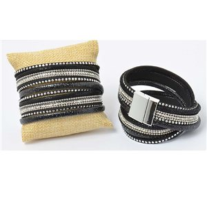 Leather strap appearance and Rhinestone magnet clasp cuff Effect New Collection 69679
