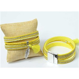 Strass Pompon Bracelet magnetic clasp cuff Effect New Collection 69654