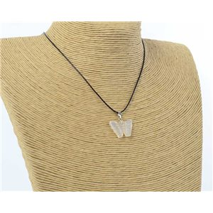 butterfly pendant necklace natural stone on waxed cord l49cm 71171