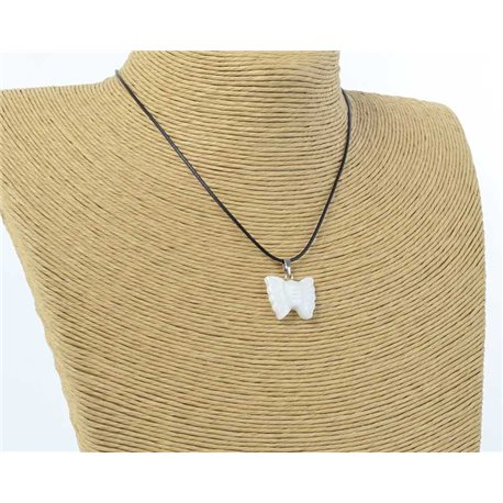 butterfly pendant necklace natural stone on waxed cord l49cm 71172