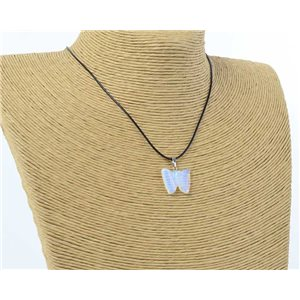 butterfly pendant necklace natural stone on waxed cord l49cm 71176