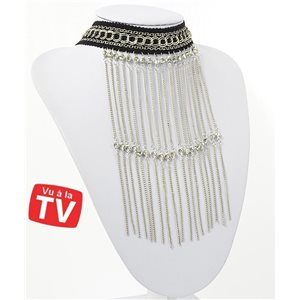 Ras Neck Chains Necklace Multi Row Full Rhinestone & Silver Collection Chic 71265