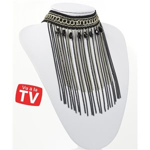Ras Neck Chains Necklace Multi Row Black & Silver Collection Chic 71269