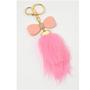 Gold metal door keys set with Rhinestones Bag Jewelry tassel fur 71308