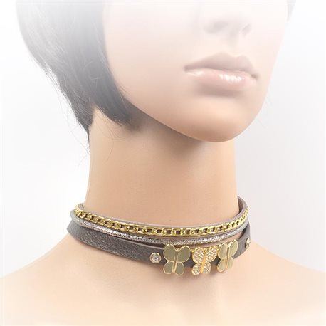 Necklace leather and rhinestone choker new collection 2017 2017 L32-40cm 71691