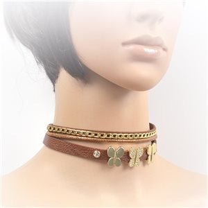 Necklace leather and rhinestone choker new collection 2017 2017 L32-40cm 71695