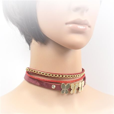 Necklace leather and rhinestone choker new collection 2017 2017 L32-40cm 71696