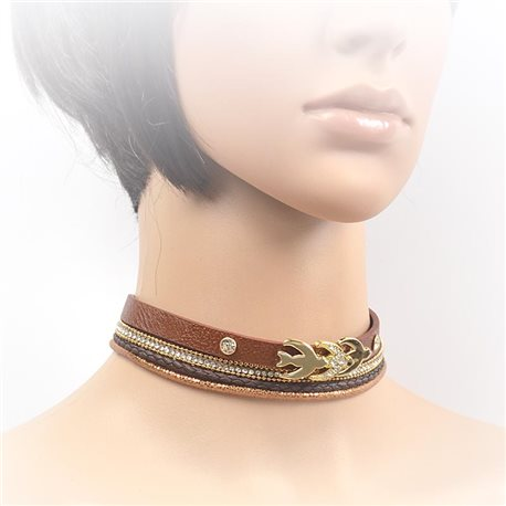 Necklace leather and rhinestone choker new collection 2017 2017 L32-40cm 71703