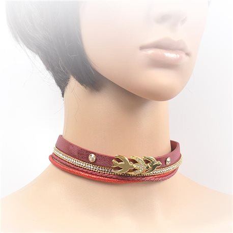 Necklace leather and rhinestone choker new collection 2017 2017 L32-40cm 71704
