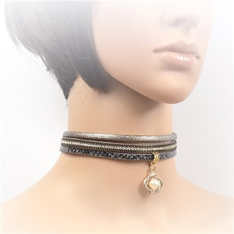 Necklace leather and rhinestone choker new collection 2017 2017 L32-40cm 71721