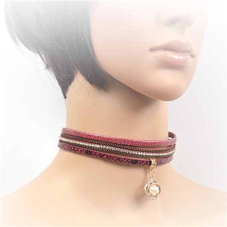 Necklace leather and rhinestone choker new collection 2017 2017 L32-40cm 71726