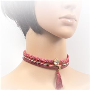 Necklace leather and rhinestone choker new collection 2017 2017 L32-40cm 71733