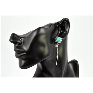 Earrings Rhinestones and Turquoise Jewelry nail-fastening 72330
