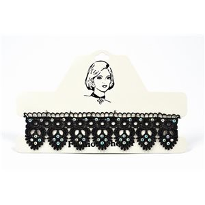 Choker Choker Necklace in Black Lace and Strass L33 / 38cm 72377