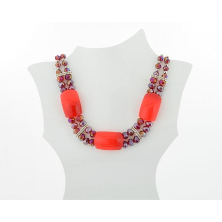 Necklace faceted Glass Beads Jewelry Rhinestones on L50cm 61404