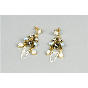 1p Boucles Oreilles à Clou serti de Strass Collection ATHENA 73427