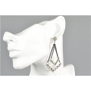 1p Earrings Earrings with Clou set with Strass Collection ATHENA Les Estivales 73430