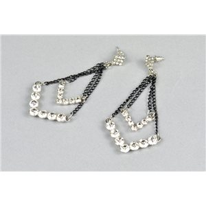 1p Boucles Oreilles à Clou serti de Strass Collection ATHENA 73430