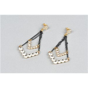 1p Boucles Oreilles à Clou serti de Strass Collection ATHENA 73473