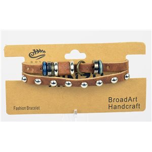 New Collection Bracelet Multirang croute de Cuir L19-L21cm bouton pression 75291