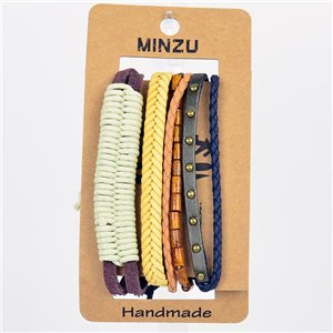 New Collection Blister de 4 Bracelets nœud coulissant Fait à la main 75303