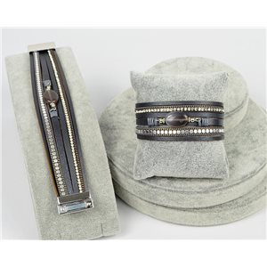 Bracelet Manchette Strass multirang L19cm Collection Bijoux Pierre fermoir aimanté 25mm 75349