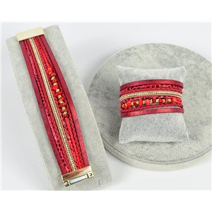 Bracelet Manchette Strass multirang L19cm Collection Bijoux Pierre fermoir aimanté 25mm 75358