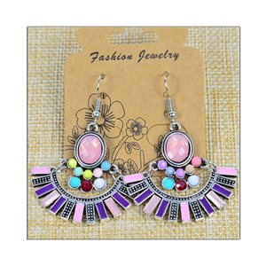 1p Earrings ATHENA silver plated metal set with Rhinestones New Ethnic Collection 75473