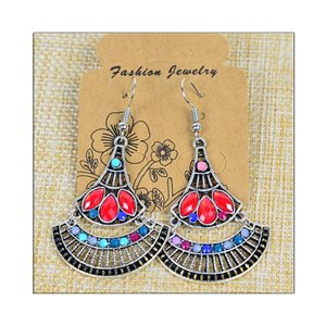1p Earrings ATHENA silver plated metal set with Rhinestones New Ethnic Collection 75483