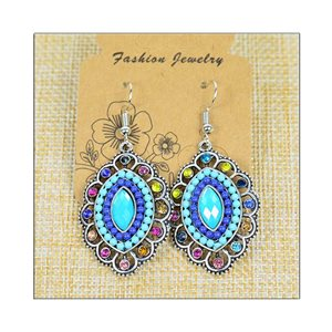 1p Earrings ATHENA silver plated metal set with Rhinestones New Ethnic Collection 75492