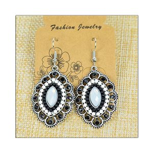 1p Earrings ATHENA silver plated metal set with Rhinestones New Ethnic Collection 75493