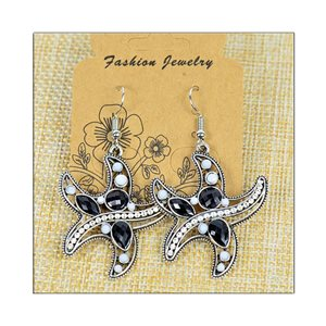 1p Earrings ATHENA silver plated metal set with Rhinestones New Ethnic Collection 75502