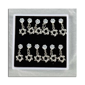 Box of 6p Ears Earrings Cubic Zirconia L15mm 75608