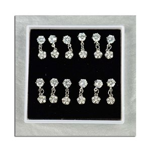 Box of 6p Ears Earrings Cubic Zirconia L15mm 75609