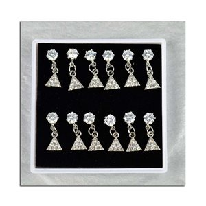 Box of 6p Ears Earrings Cubic Zirconia L15mm 75614