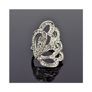 New Collection Adjustable Metal Ring Set with Silver Color Rhinestones 75642