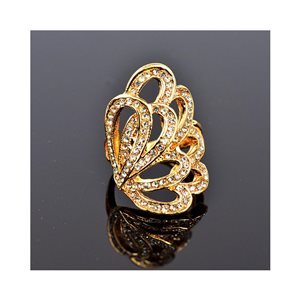 New Collection Adjustable Metal Ring Set with Golden Color Rhinestones 75643