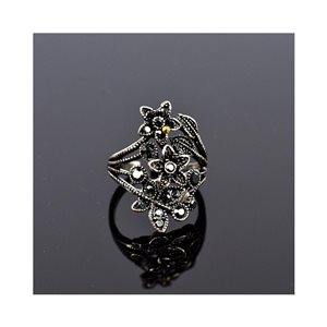 New Collection Adjustable Metal Ring Set with Rhinestone Color Anthracite 75645