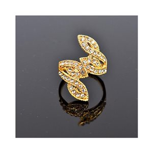 New Collection Adjustable metal ring set with golden color Rhinestones 75655