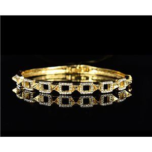 Gold colored metal bracelet Chic Collection set with Rhinestones D55mm L18cm clip clasp 75524