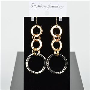 1p Earrings Hanging Hook 7cm Metal Color Mix New Graphika Style 75743