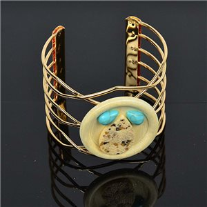 TorK cuff bracelet Creation Stone and Jewelry metal Golden color L50mm New Collection 75598