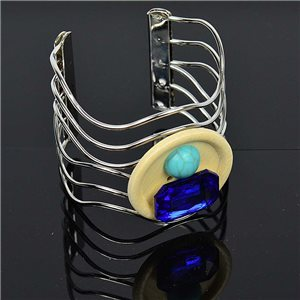 TorK cuff bracelet Creation Stone and Jewelry metal color Silver L50mm New Collection 75599