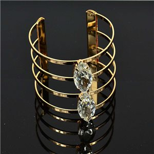 Bracelet TorK Claw Rhinestone Metal Gold Color Fashion Chic L50mm New Collection 75586
